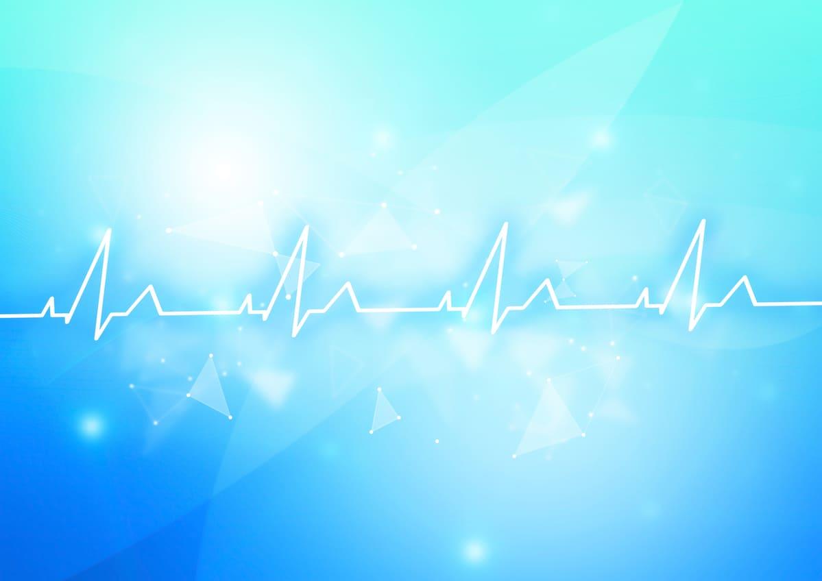心電図波形、青い背景