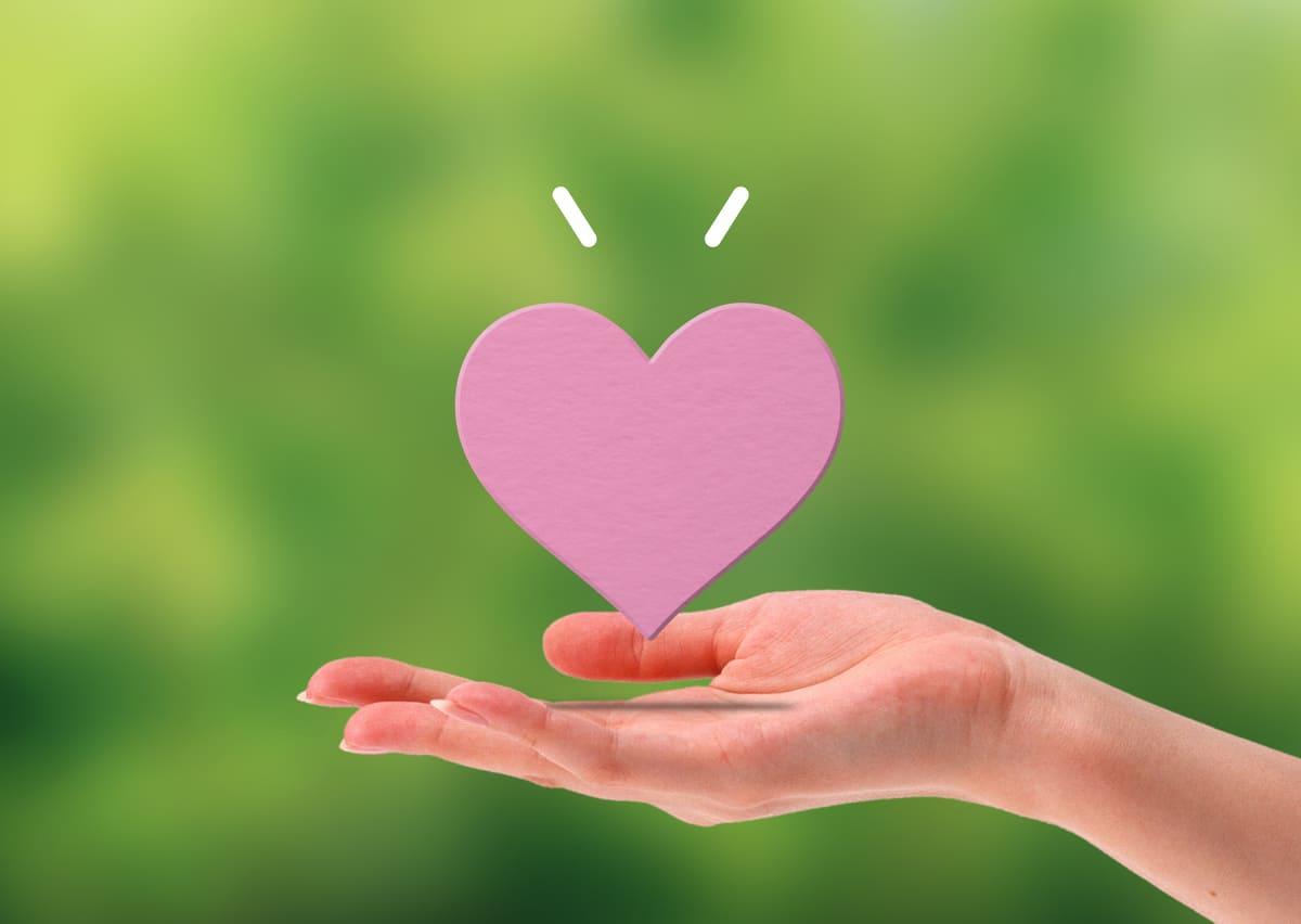 心臓の模型、緑の背景